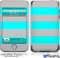iPod Touch 2G & 3G Skin - Psycho Stripes Neon Teal and Gray