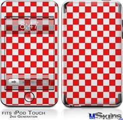 iPod Touch 2G & 3G Skin - Checkered Canvas Red and White