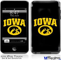 iPod Touch 2G & 3G Skin - Iowa Hawkeyes Tigerhawk Oval 01 Gold on Black