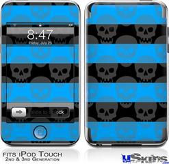 iPod Touch 2G & 3G Skin - Skull Stripes Blue