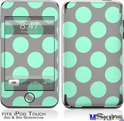 iPod Touch 2G & 3G Skin - Kearas Polka Dots Mint And Gray