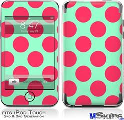iPod Touch 2G & 3G Skin - Kearas Polka Dots Pink And Blue