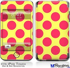 iPod Touch 2G & 3G Skin - Kearas Polka Dots Pink And Yellow