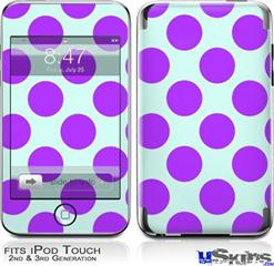 iPod Touch 2G & 3G Skin - Kearas Polka Dots Purple And Blue