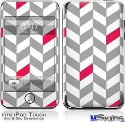 iPod Touch 2G & 3G Skin - Chevrons Gray And Raspberry
