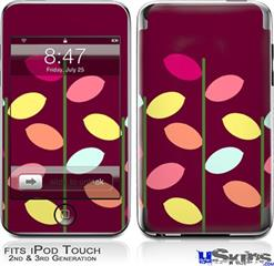 iPod Touch 2G & 3G Skin - Plain Leaves On Burgundy