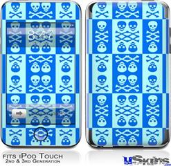 iPod Touch 2G & 3G Skin - Skull And Crossbones Pattern Blue