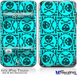 iPod Touch 2G & 3G Skin - Skull Patch Pattern Blue