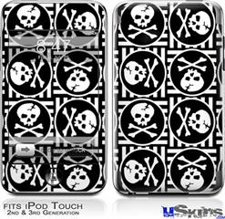 iPod Touch 2G & 3G Skin - Skull Patch Pattern Bw