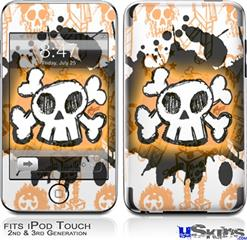 iPod Touch 2G & 3G Skin - Cartoon Skull Orange