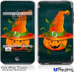 iPod Touch 2G & 3G Skin - Halloween Mean Jack O Lantern Pumpkin