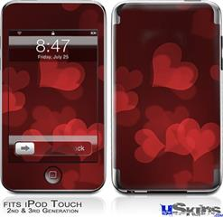 iPod Touch 2G & 3G Skin - Bokeh Hearts Red