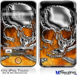 iPod Touch 2G & 3G Skin - Chrome Skull on Fire