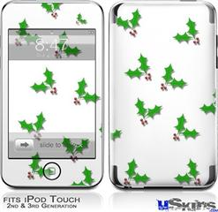 iPod Touch 2G & 3G Skin - Holly Leaves on White