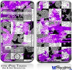 iPod Touch 2G & 3G Skin - Purple Checker Skull Splatter
