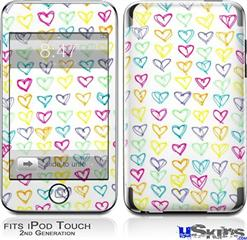 iPod Touch 2G & 3G Skin - Kearas Hearts White