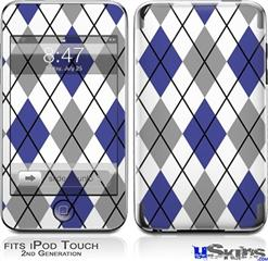iPod Touch 2G & 3G Skin - Argyle Blue and Gray