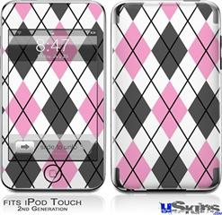 iPod Touch 2G & 3G Skin - Argyle Pink and Gray